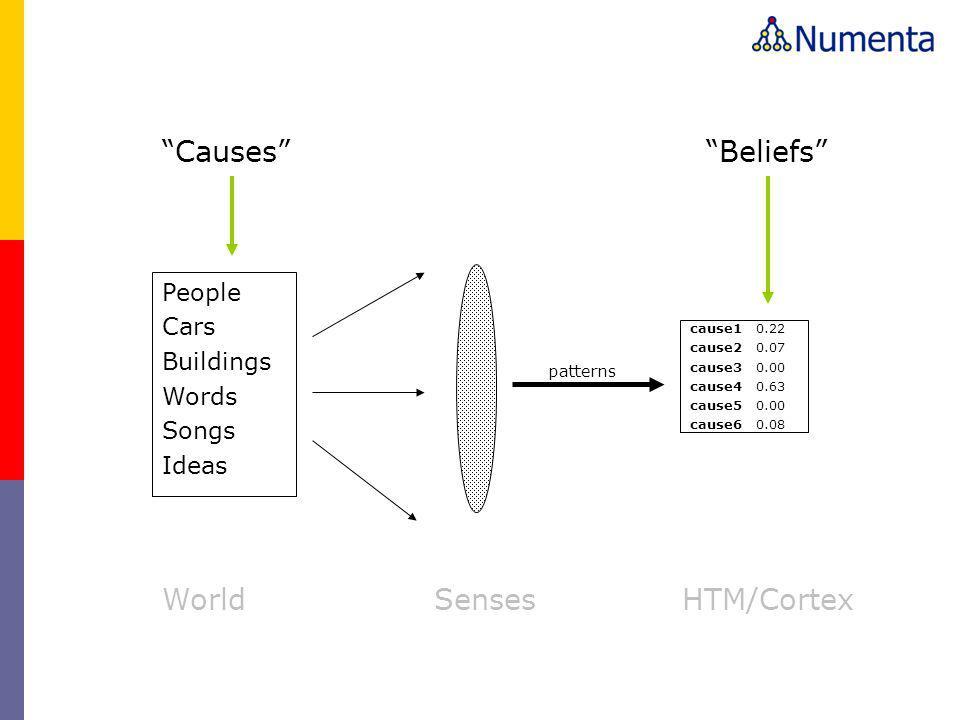 Causes Beliefs World Senses HTM/Cortex People Cars Buildings Words