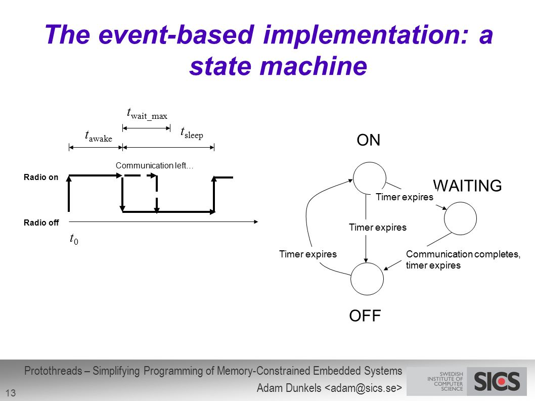 The event-based implementation: a state machine