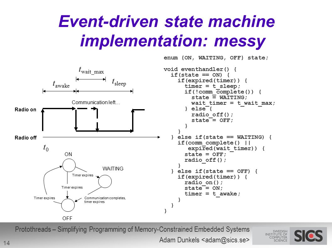 Event-driven state machine implementation: messy