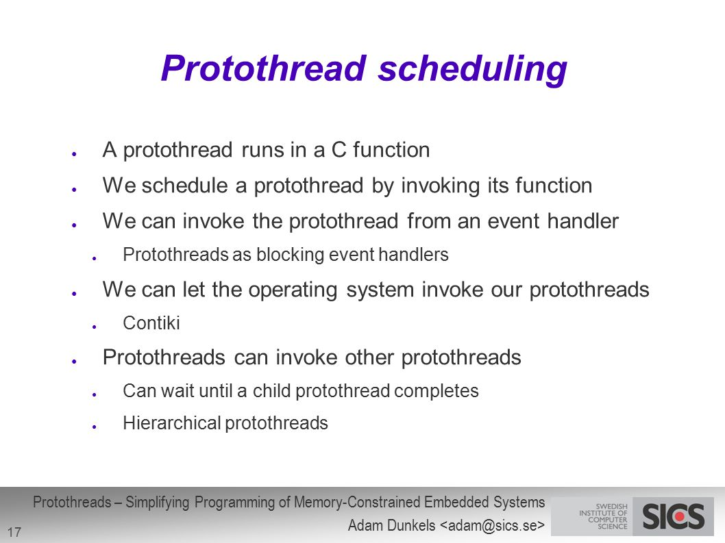 Protothread scheduling