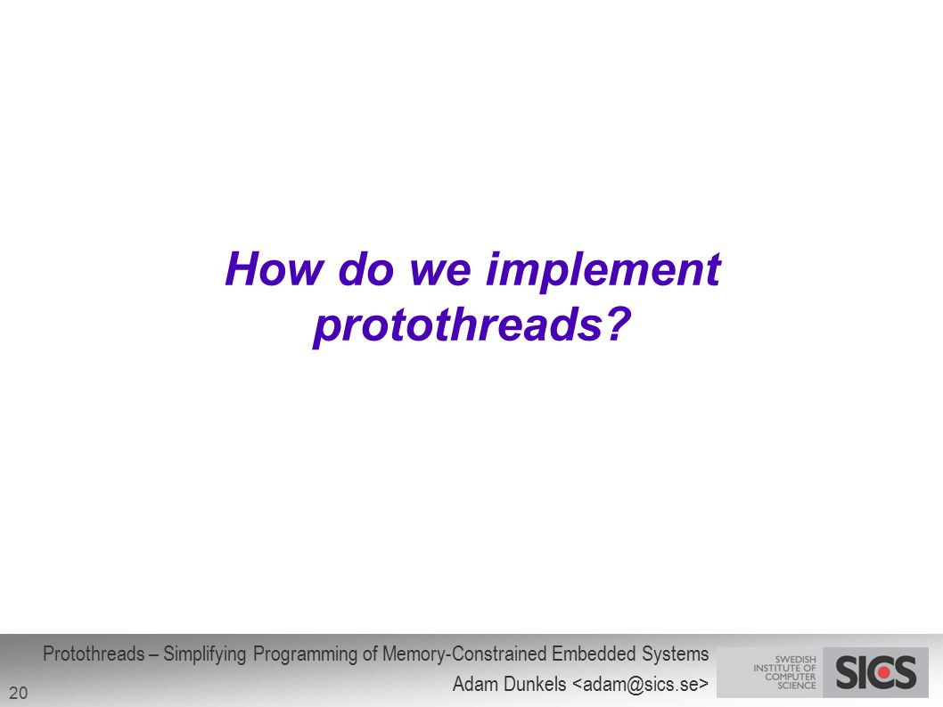 How do we implement protothreads