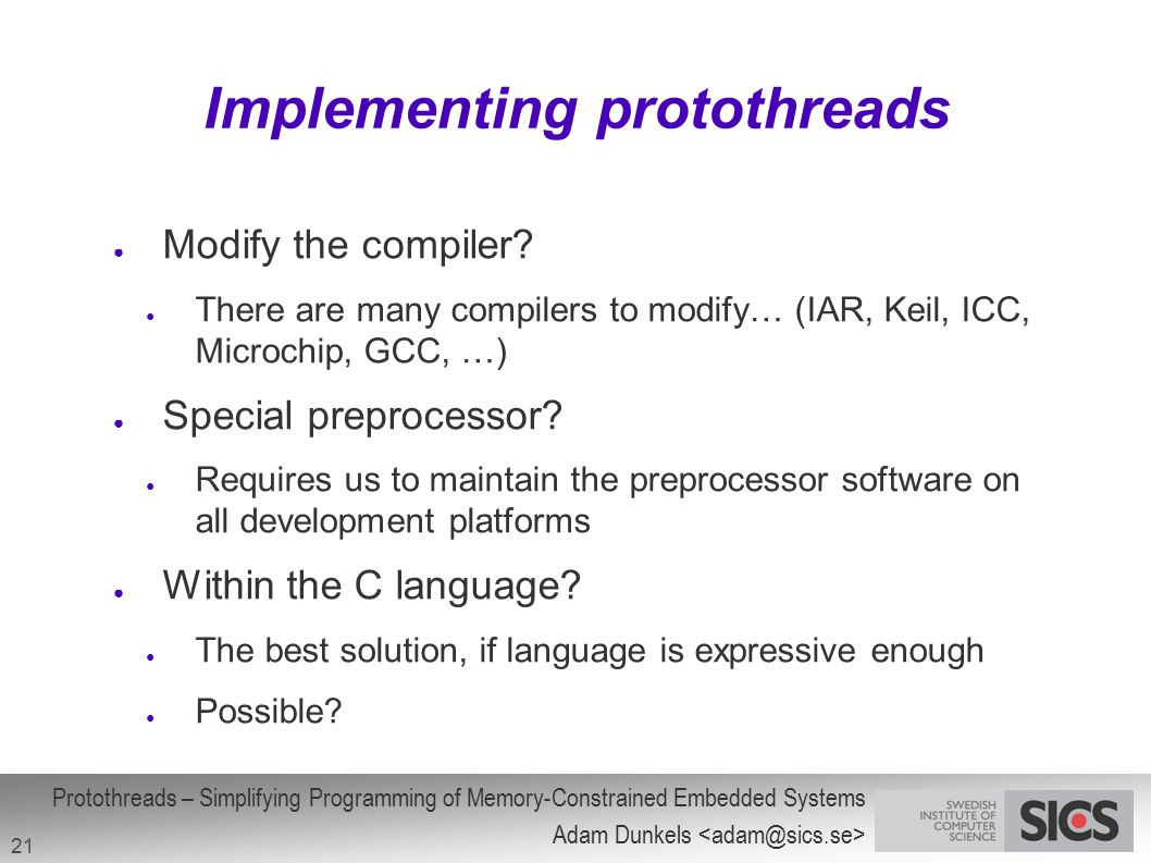 Implementing protothreads