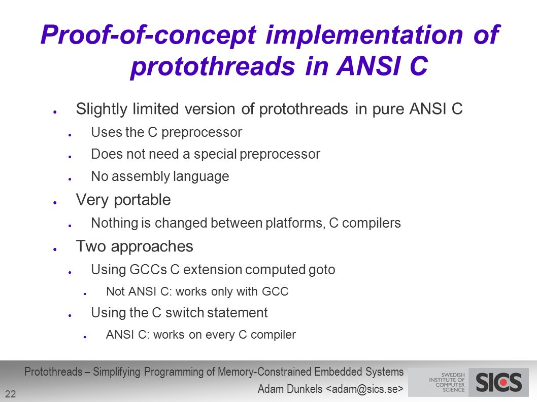 Proof-of-concept implementation of protothreads in ANSI C