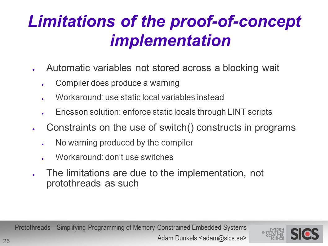 Limitations of the proof-of-concept implementation