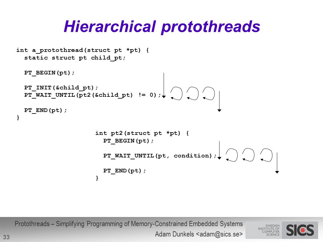 Hierarchical protothreads