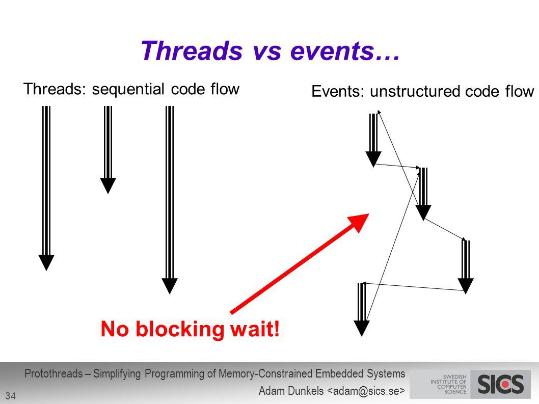Threads vs events… No blocking wait! Threads: sequential code flow