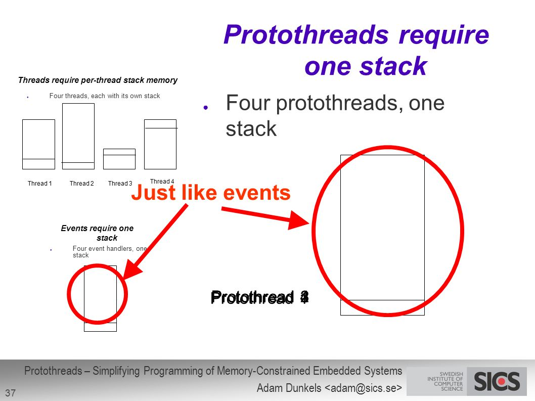 Protothreads require one stack