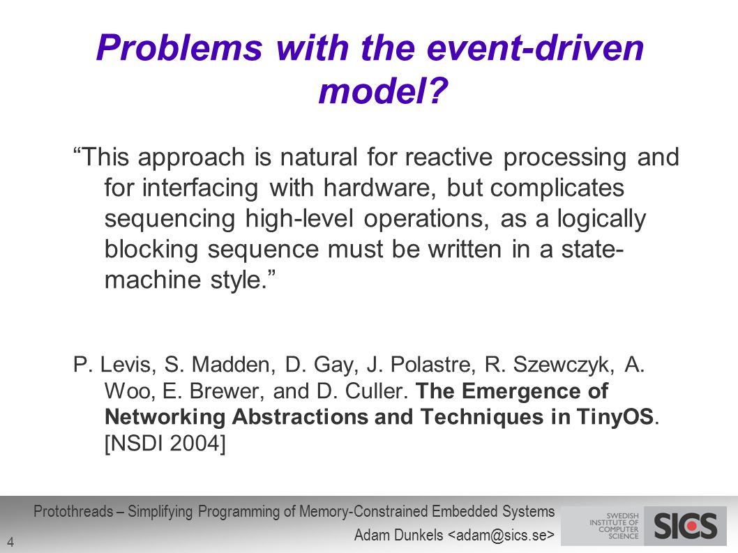 Problems with the event-driven model