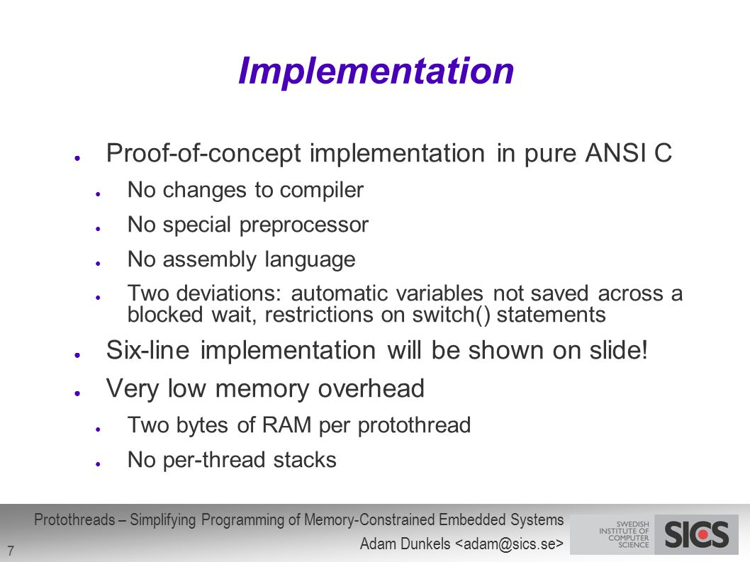 Implementation Proof-of-concept implementation in pure ANSI C