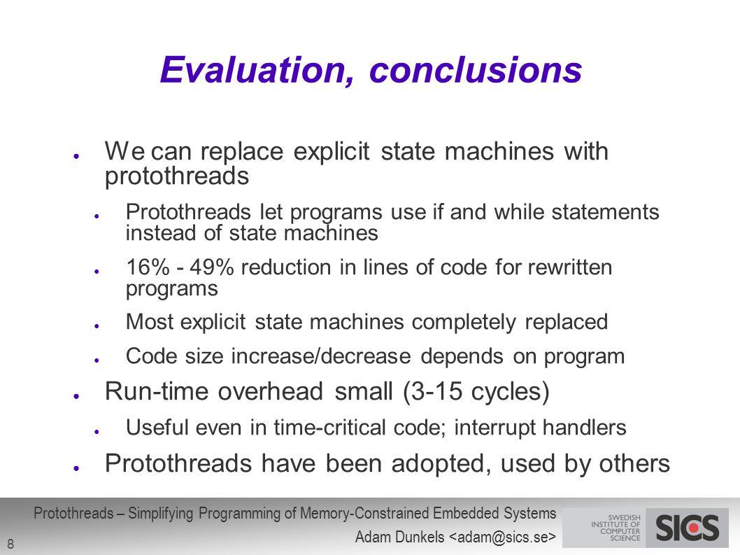 Evaluation, conclusions