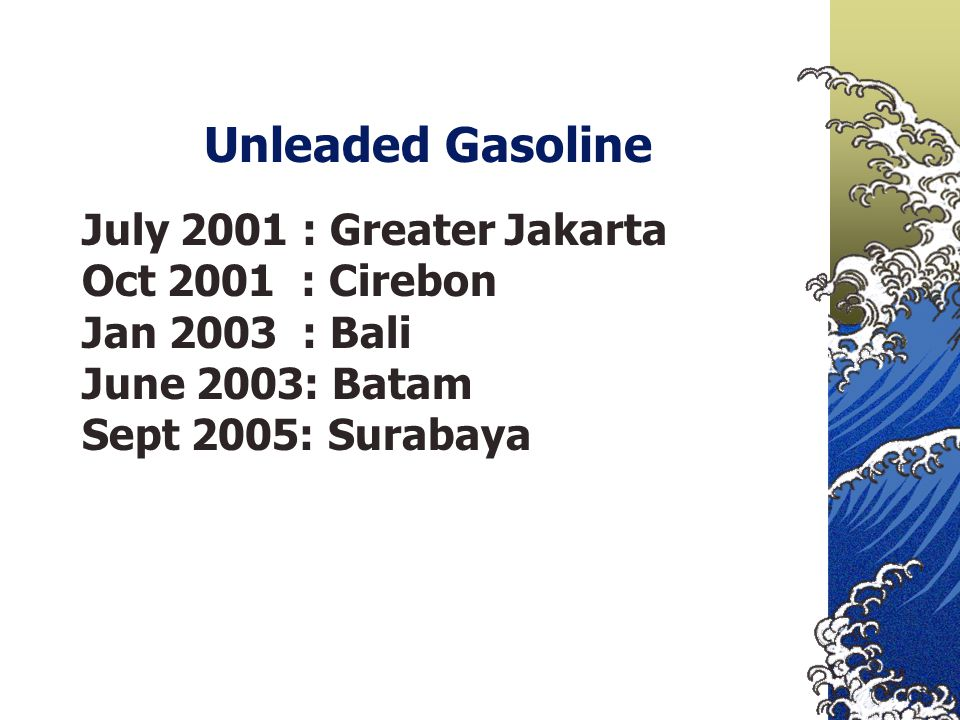 Unleaded Gasoline July 2001 : Greater Jakarta Oct 2001 : Cirebon