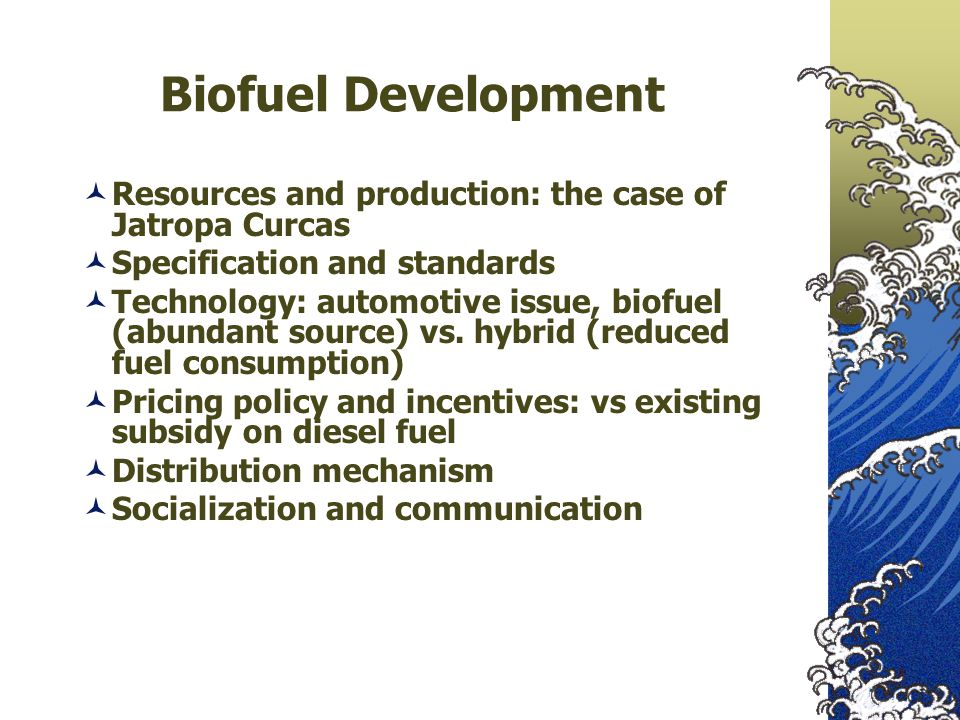 Biofuel Development Resources and production: the case of Jatropa Curcas. Specification and standards.