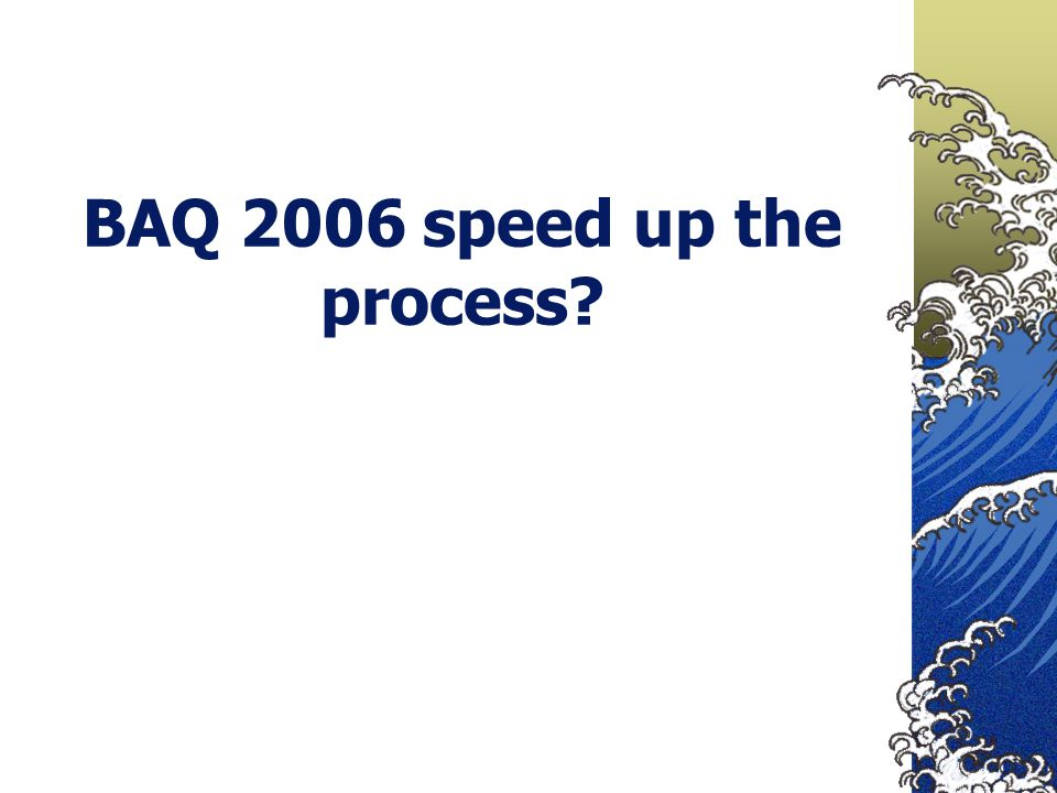 BAQ 2006 speed up the process