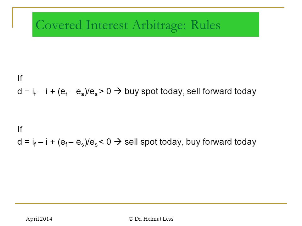 Covered Interest Arbitrage: Rules