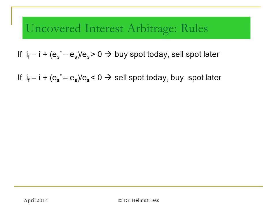 Uncovered Interest Arbitrage: Rules