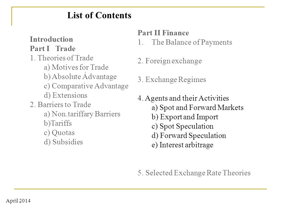 List of Contents Part II Finance The Balance of Payments Introduction