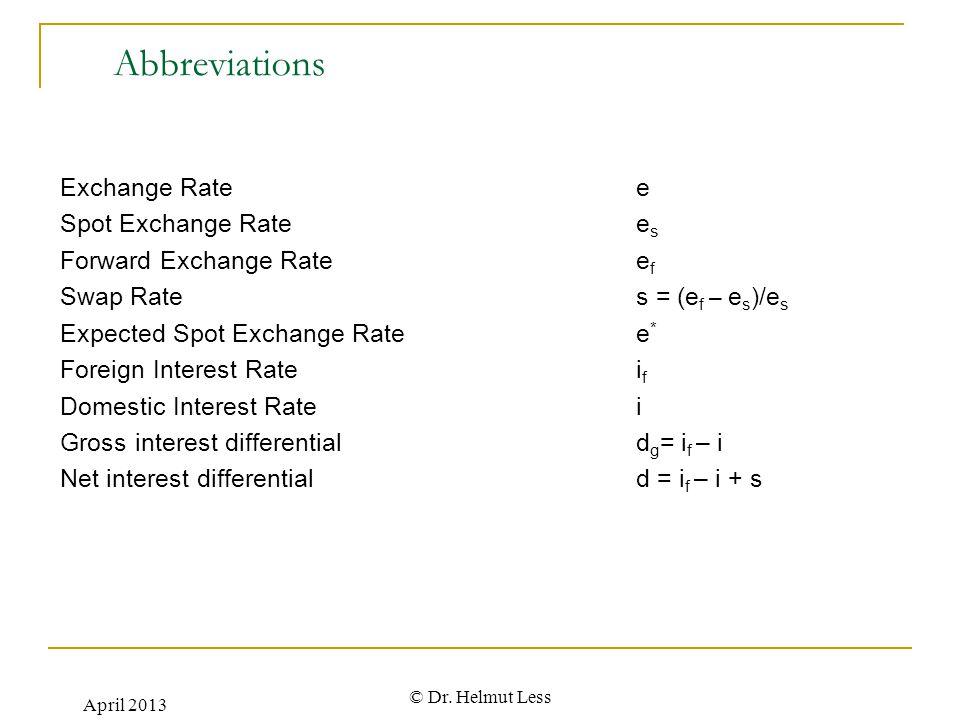 Abbreviations Exchange Rate e Spot Exchange Rate es
