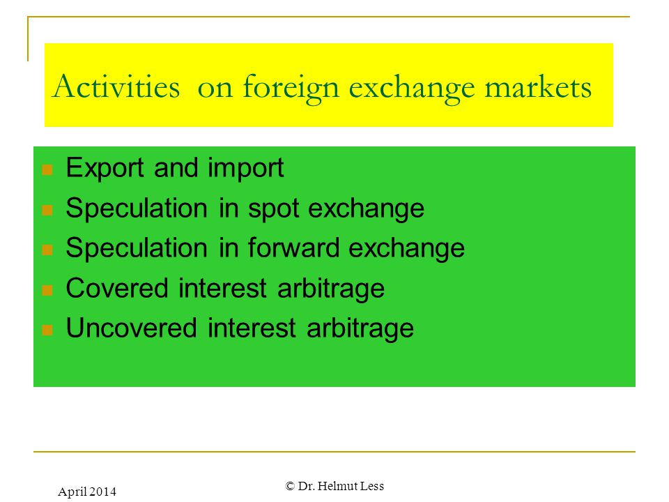 Activities on foreign exchange markets