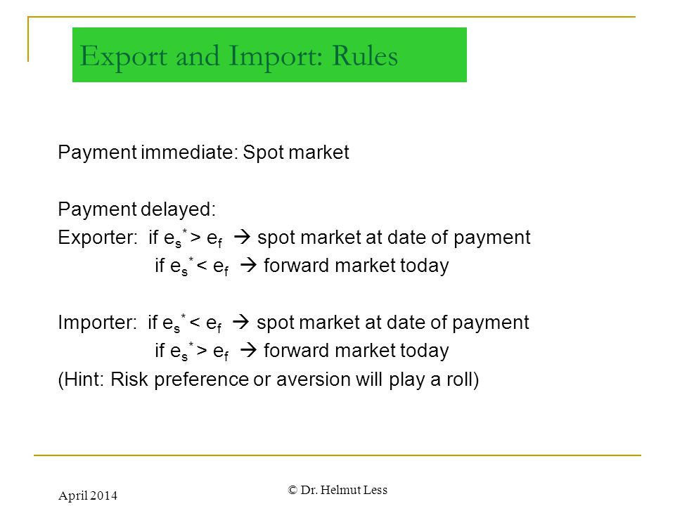 Export and Import: Rules