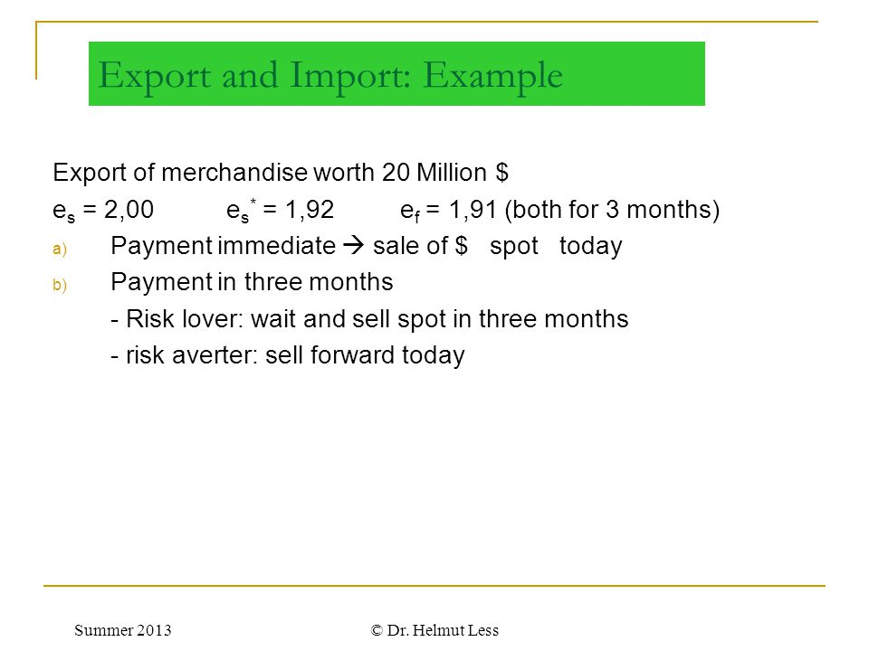 Export and Import: Example
