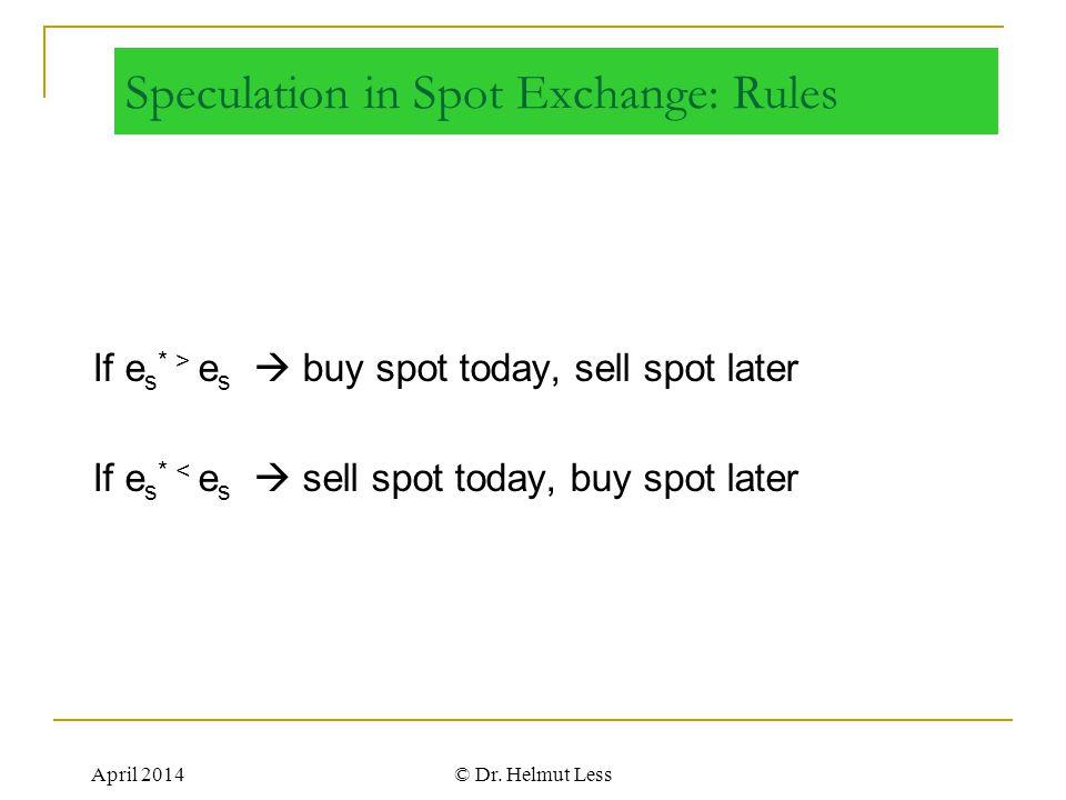 Speculation in Spot Exchange: Rules
