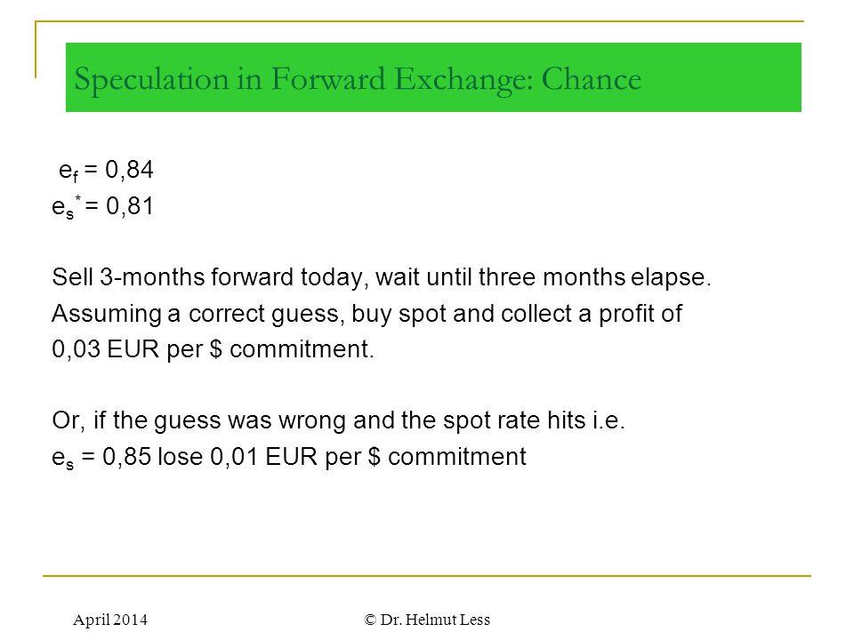 Speculation in Forward Exchange: Chance