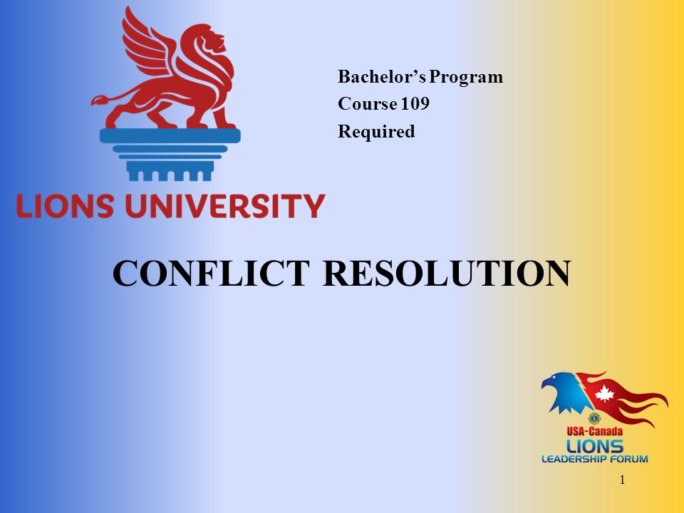 Bachelor's Program Course 109 Required Conflict Resolution