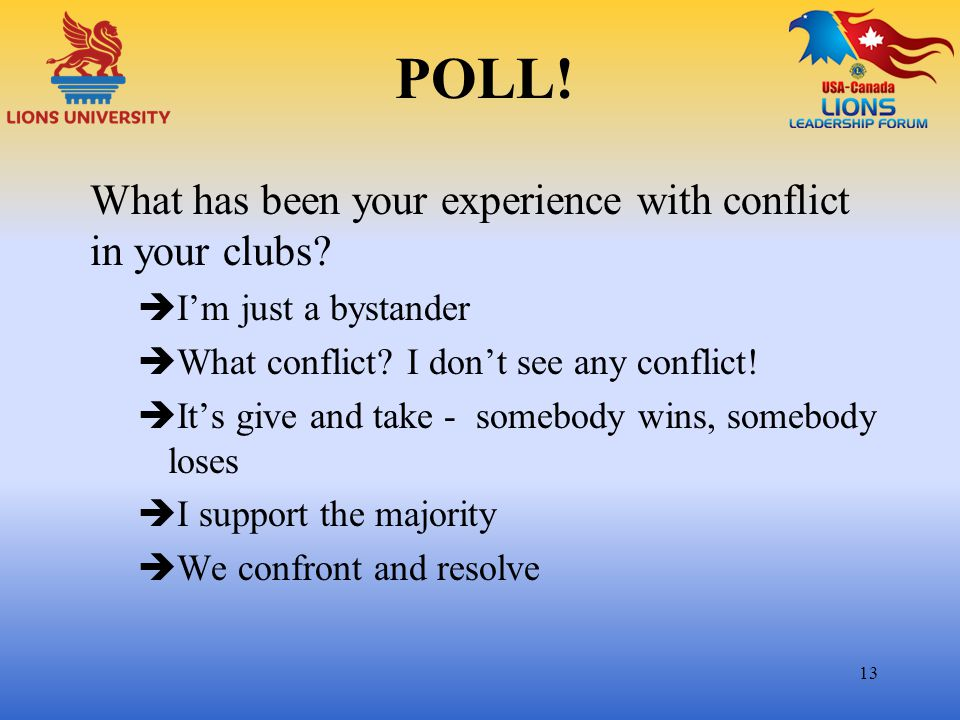 POLL! What has been your experience with conflict in your clubs