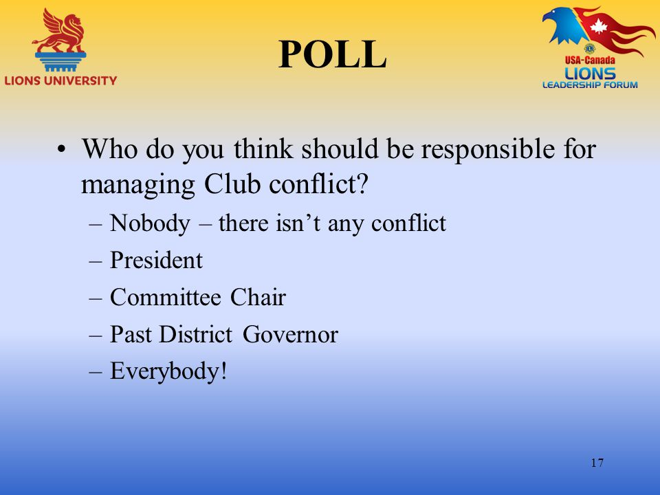 POLL Who do you think should be responsible for managing Club conflict Nobody – there isn't any conflict.