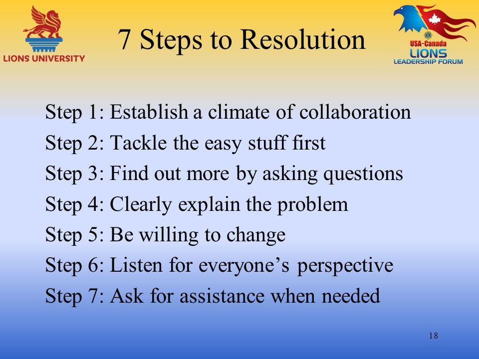 7 Steps to Resolution