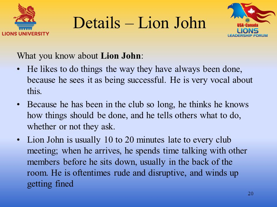 Details – Lion John What you know about Lion John: