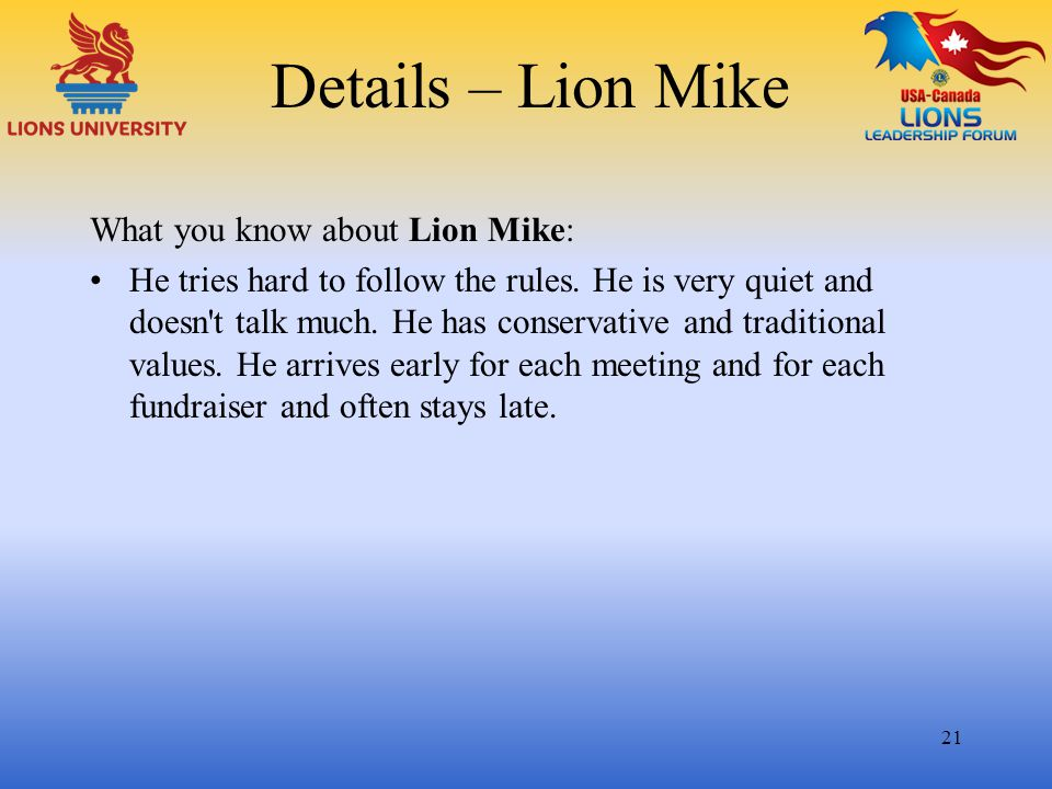 Details – Lion Mike What you know about Lion Mike: