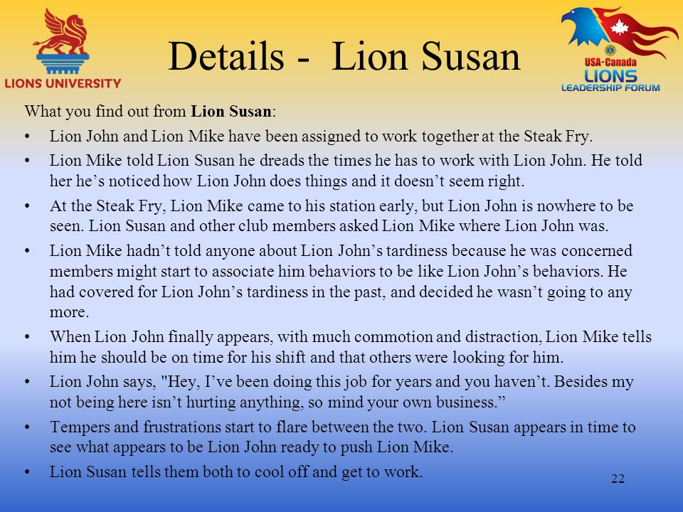 Details - Lion Susan What you find out from Lion Susan: