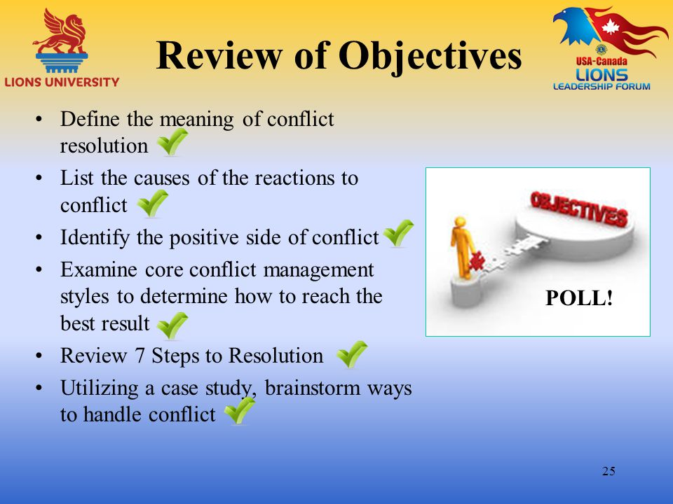 Review of Objectives Define the meaning of conflict resolution