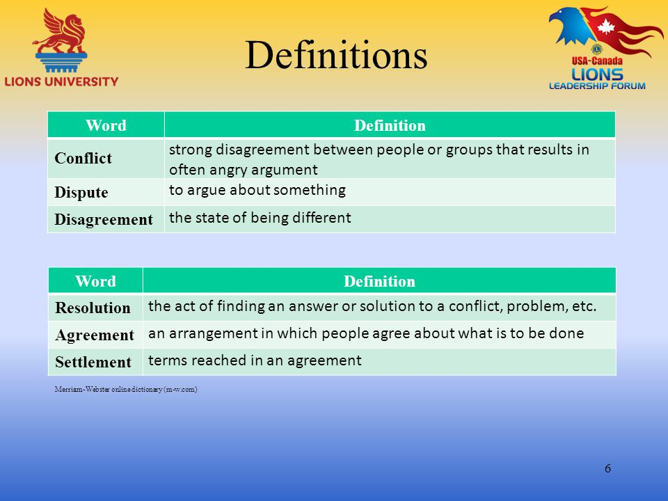 Definitions Word Definition Conflict