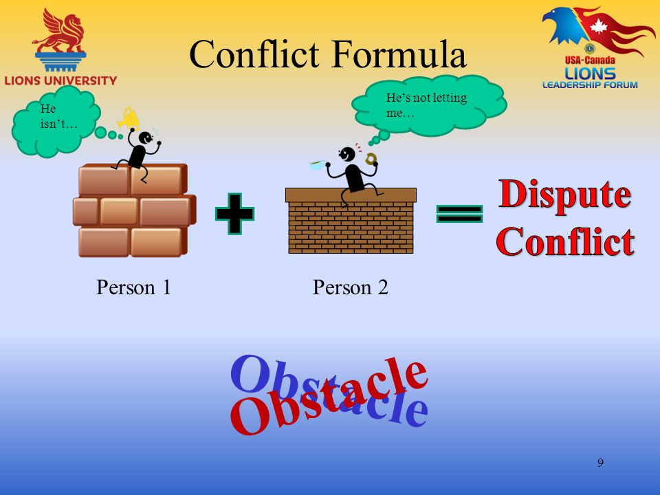 Obstacle Obstacle Conflict Formula Dispute Conflict Person 1 Person 2