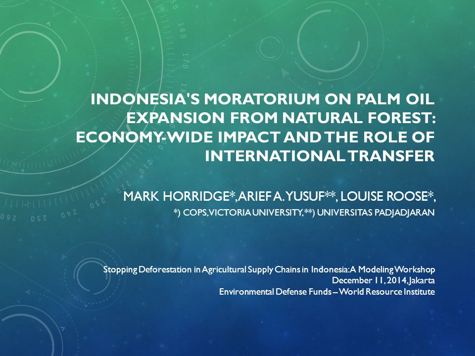 Indonesia s moratorium on palm oil expansion from natural forest: Economy-wide impact and the role of international transfer