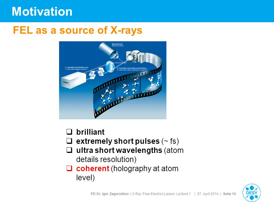 Motivation FEL as a source of X-rays brilliant