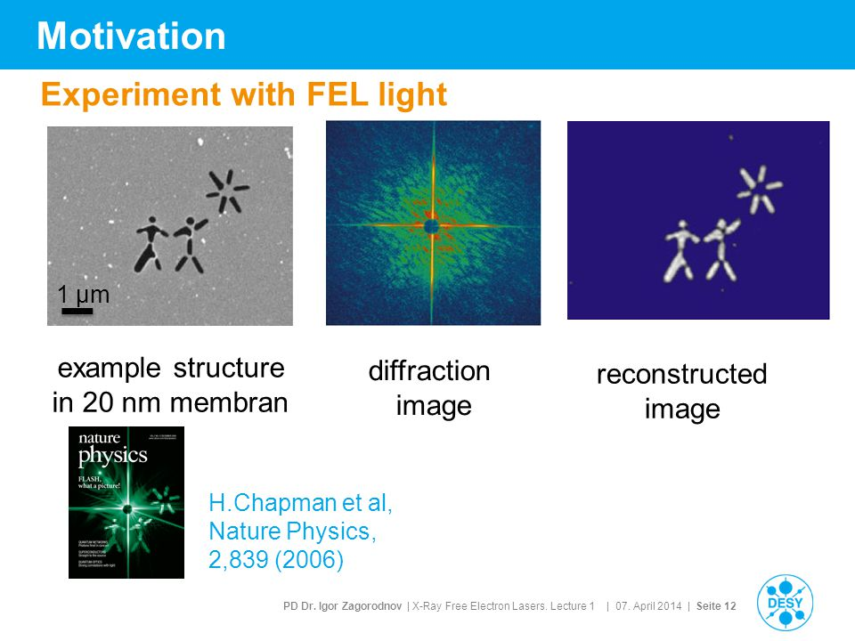 Motivation Experiment with FEL light example structure diffraction