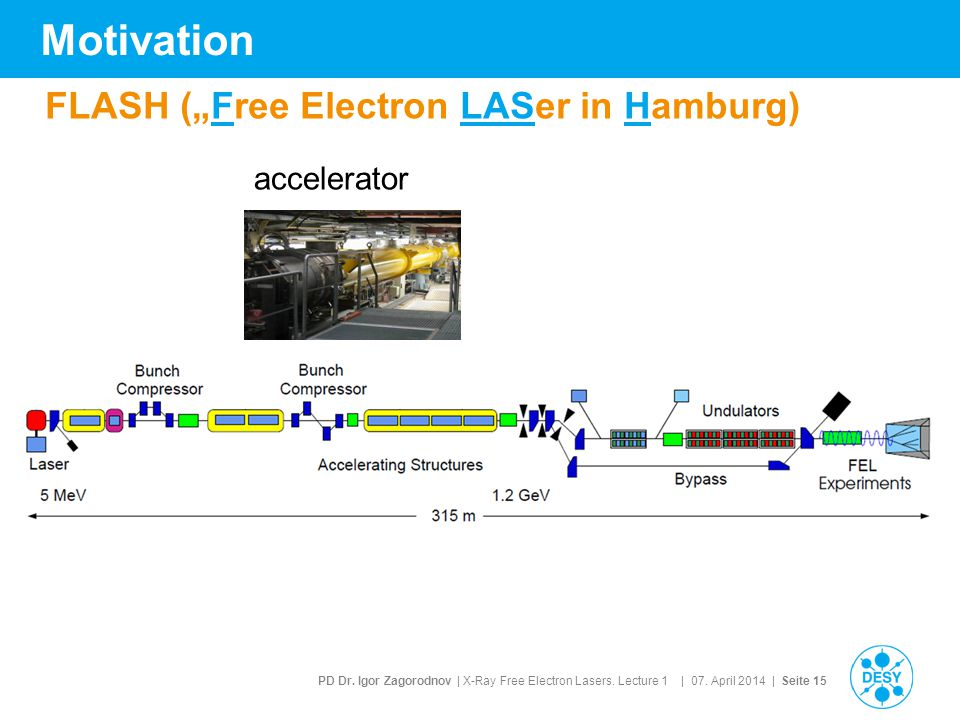 "Motivation FLASH (""Free Electron LASer in Hamburg) accelerator"