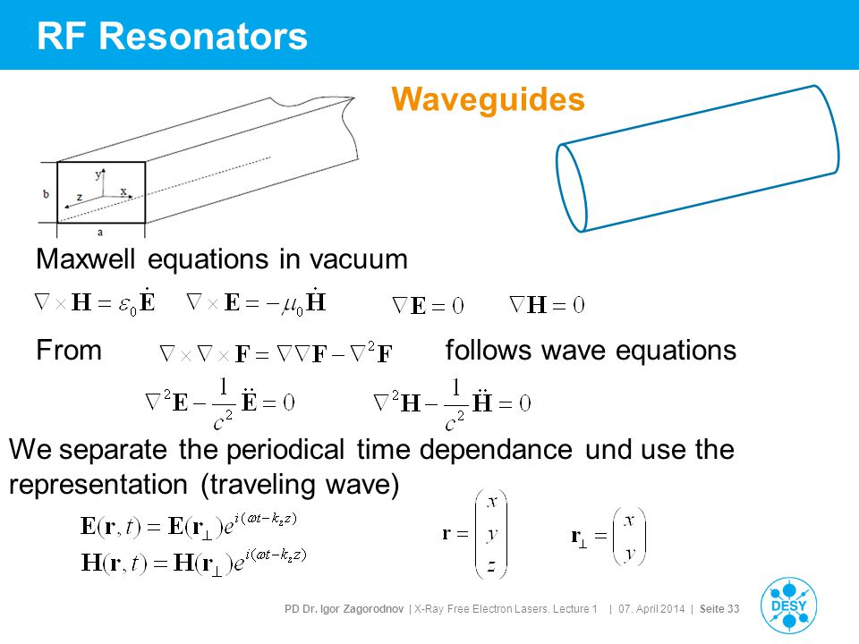 RF Resonators Waveguides Maxwell equations in vacuum From