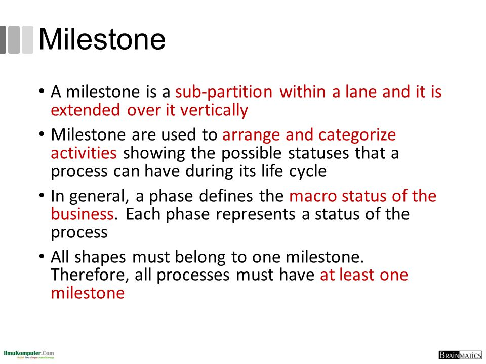 Milestone A milestone is a sub-partition within a lane and it is extended over it vertically.