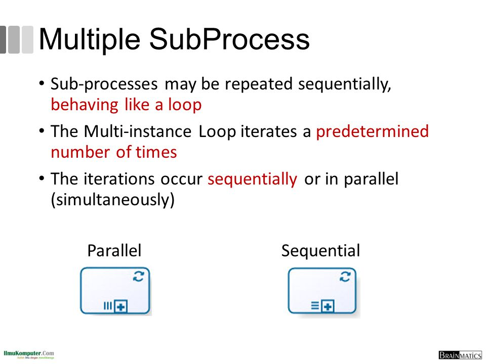 Multiple SubProcess Sub-processes may be repeated sequentially, behaving like a loop.