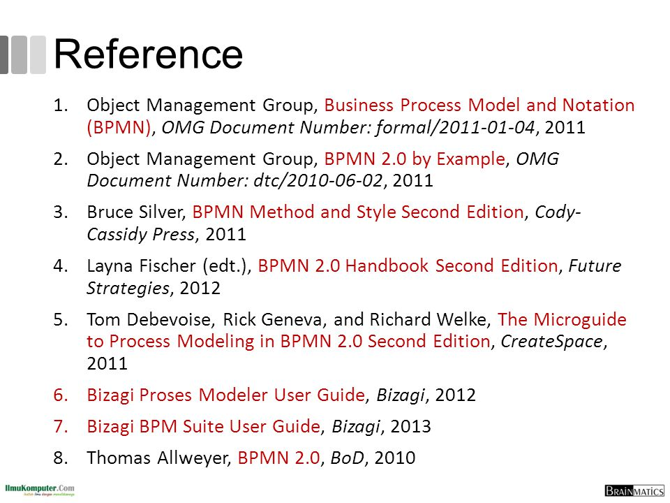 Reference Object Management Group, Business Process Model and Notation (BPMN), OMG Document Number: formal/2011-01-04, 2011.