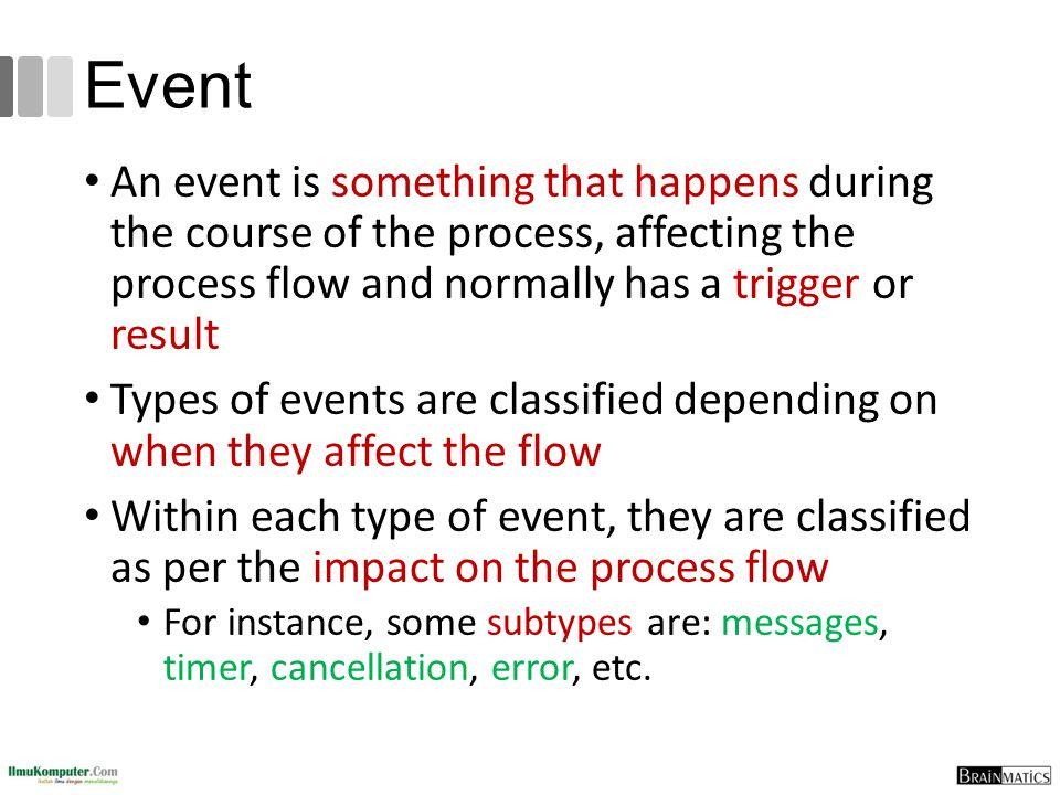 Event An event is something that happens during the course of the process, affecting the process flow and normally has a trigger or result.