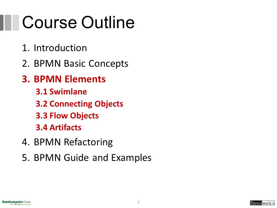 Course Outline Introduction BPMN Basic Concepts BPMN Elements
