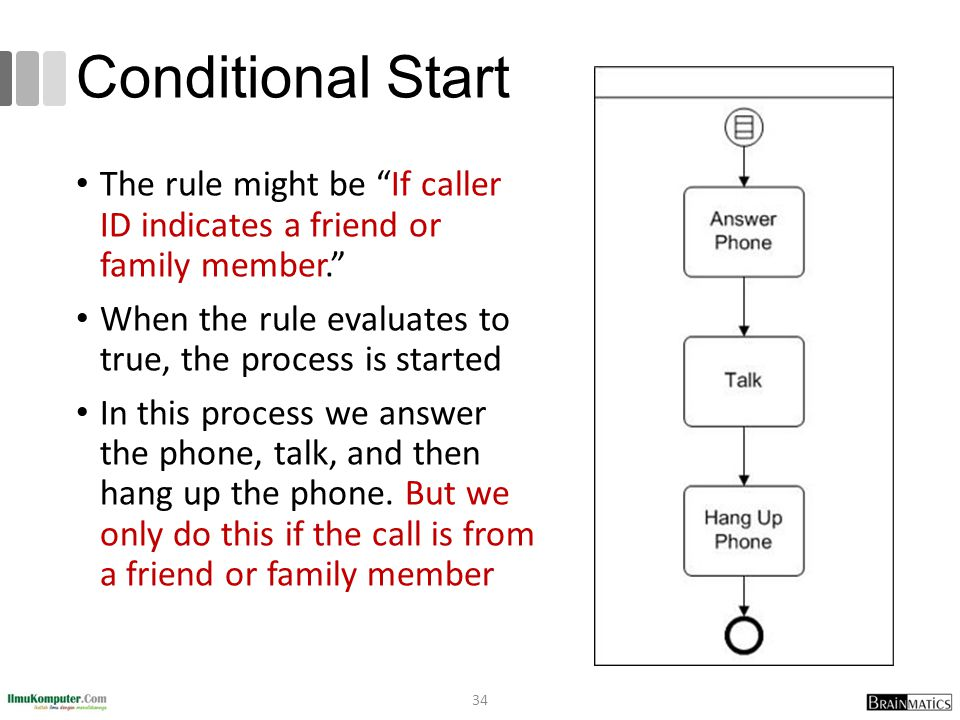 Conditional Start The rule might be If caller ID indicates a friend or family member. When the rule evaluates to true, the process is started.