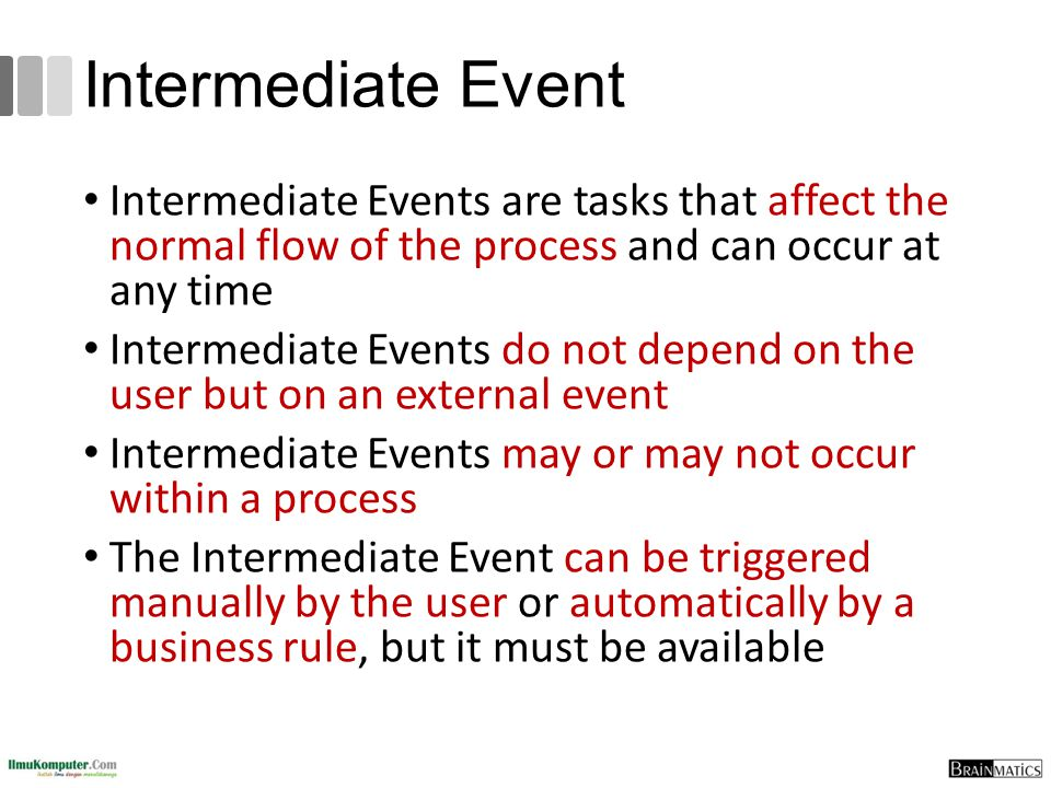 Intermediate Event Intermediate Events are tasks that affect the normal flow of the process and can occur at any time.