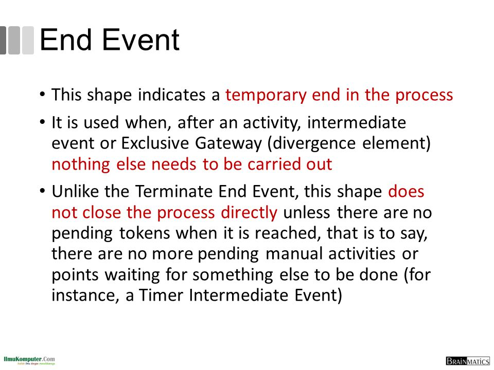 End Event This shape indicates a temporary end in the process