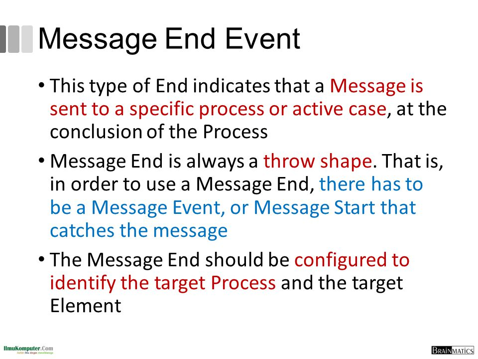Message End Event This type of End indicates that a Message is sent to a specific process or active case, at the conclusion of the Process.